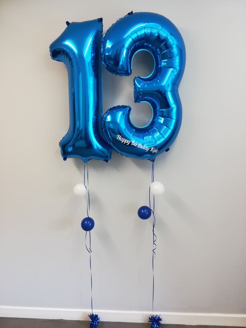 Large Blue Number Balloons